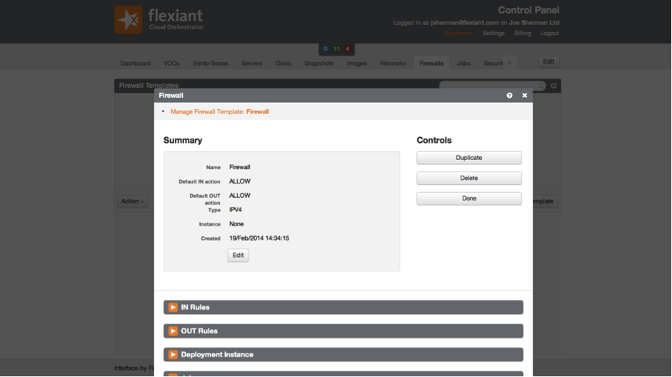 Firewall, Flexiant Cloud Orchestrator