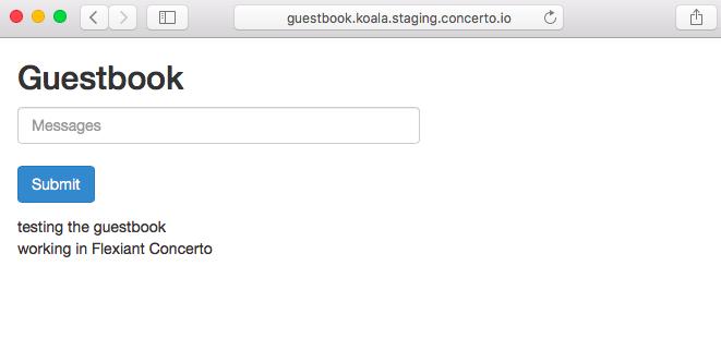 Screenshot of Flexiant Concerto Guestbook
